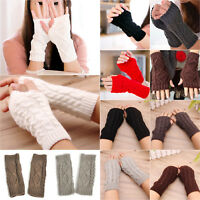 Unisex Womens Knitted Fingerless Half Finger Gloves Thumb Hole Wrist Hand Warmer