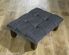 CUBED CHENILLE FOOTSTOOL / POUFFE  CHOICE OF BUTTONS / COLOURS & SIZES