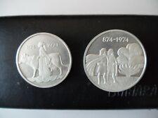 More details for iceland 1974 settlement silver proof 500,1000 kronurs coins. no box  bu