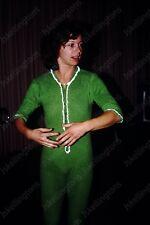 1980 pretty woman in green pajamas vintage 35mm slide Ah11