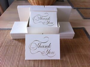 """50 METALLIC GOLD IMPRINTED """"THANK YOU"""" NOTE CARDS WITH MATCHING ENVELOPES"""