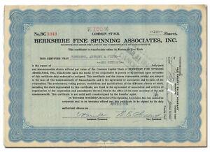 Berkshire Fine Spinning Assoc Inc. Stock Certificate (Became Berkshire Hathaway)