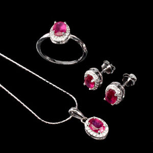 Oval Red Ruby 7x5mm Cz 14K White Gold Plate 925 Sterling Silver Sets