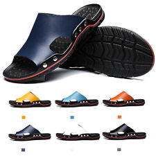 Mens Casual Leather Sandals Open Toe Flip Flops Shoes Anti-slip Slippers UK