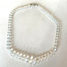 """Antique Glass Crystal Necklace with 14K Gold Barrel Clasp, 16.5"""""""