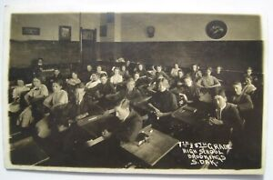 Brookings SD Country 7th, 8th Grade High School Students Old 1910s RPPC Postcard