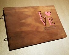 Personalized A4 size Wooden Wedding Guest Book, Engagement, stained, varnished