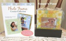 Set Of 4 Photo Frame Glass Coasters Easel Back Wood Holder Books Are Fun New
