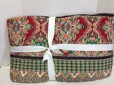 Pottery Barn Harlow Bed Quilt Comforter Cal King Red White Floral Paisley Floral