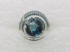 14K WHITE GOLD LONDON BLUE TOPAZ AND FANCY COLOR BLUE DIAMOND RING  - LB2488