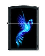 Zippo 0249, Phoenix-Burning Blue, Black Matte Finish Lighter, Full Size