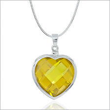 Sterling Silver Necklace with Large Citrine Yellow CZ Heart Pendant #90075