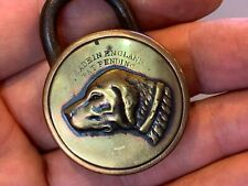 More details for unusual antique english brass padlock -  for dog collar ?