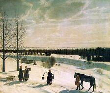 Oil painting Krylov, Nikifor Russian artist - Russian Winter landscape & horses