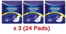 3 x Always Classic Night 8 Sanitary Towels Pads With Wings (24 Pads)