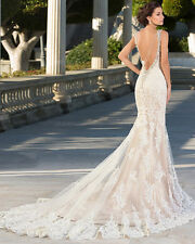 Classic Design Crystal Beading Neck Mermaid Lace Tulle Wedding Dress Bridal Gown