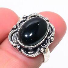 Lovely Black Onyx Gemstone 925 Sterling Silver Ring Size 6.5 4111