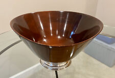 Genuine Mahogany Hand Turned Large Vintage Wood BOWL with STERLING SILVER BASE