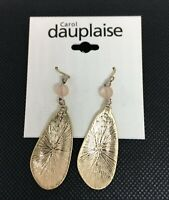 Goldtone Coral Glass Bead Double Drop Earrings By Carol Dauplaise New