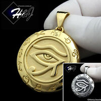 MEN's Stainless Steel Silver/Black/Gold Egyptian Eye of Horus Round Pendant*P92