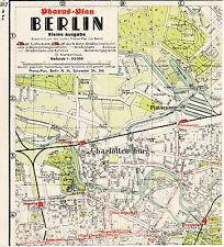 Berlin Charlottenburg Plötzensee 1940 kl. orig. Pharus-Teil-Stadtplan Tiergarten
