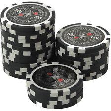 25 Pokerchips 13g Clay (Ton) Wert 100 schwarz Metallkern Ultimate Poker Laser