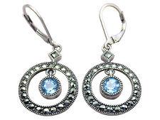 Judith Jack Pierced Earrings Blue Topaz Sterling Silver Marcasite Jewelry 224g
