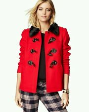 NWOT JUICY COUTURE RED WOOL SHORT SWING TOGGLE COAT JACKET SIZE XS