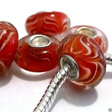 Lot of 5 European Charm Beads Silver Single Core Red Lampwork Z53 Ships from USA