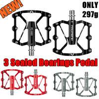 Promend Bicycle Flat Pedals Aluminum Wide MTB Road Bike Pedal 3 Sealed Bearings
