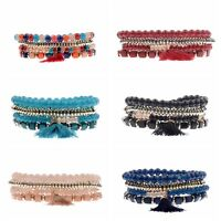 Retro 4Pcs/Set Ethnic Boho Multilayer Tassel Bead Bracelet Bangle Trendy Jewelry