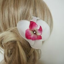 White Silk Orchid Flower Cerise Pink Bridal Hair Accessory With Clip