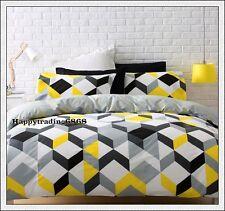 Yellow Black White Grey Geometric Design * 3pc QUEEN QUILT DOONA COVER SET