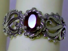 NATURAL mined red garnet antique 925 sterling silver filigree ring size 9 USA
