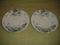 "Elizabethan Staffordshire Saucer Pair Harewood Pattern 6 & 1/4"" Across England"