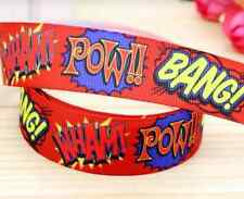 "1M 22mm 7/8"" POW WHAM BANG RED GROSGRAIN RIBBON 99p BOYS BIRTHDAY CAKE PARTY"