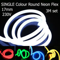 3m 230V Neon Flex Round Light 360ﹾ Waterproof Flexible 17mmLED Robe 5050 IP68 UK