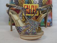 Falchi Size 9.5 M Natalie Light Gold Multi  Open Toe Heels New Womens Shoes