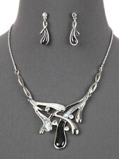 Black White Gray Silver Tone Statement Necklace Earrings Fashion Jewelry Set