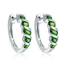 1.77ct Natural Chrome Diopside Solid 925 Sterling Silver Hoop Earrings for Women