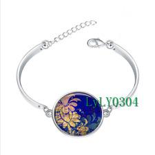 Mood Indigo art glass cabochon Tibet silver bangle bracelets wholesale