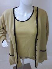 Jaeger Yellow Button Down Viscose/Wool Sweater Set Set Size XL