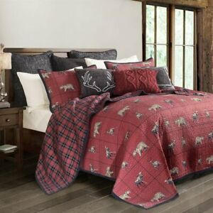 Woodland Plaid Country Wildlife Reversible Rustic Cabin Twin 2-Piece Bed Set