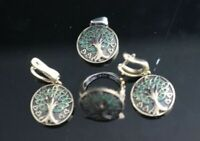 Turkish Handmade Jewelry Sterling Silver 925 Emerald Earring Ring SET 7,8,9,10