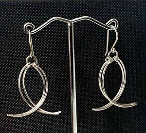 Solid Sterling Silver Drop Dangle Modern Style Earrings - Hook Fastening BOXED