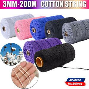 Natural Cotton Twisted Cord Craft Macrame Weaving Wire Artisan Rope 3mm 200M AU