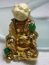 Vintage Signed ART Jeweled  Faux Jade Laughing Asian Buddha Man  Pin Brooch