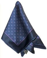 NEW BRIONI BLUE HAND ROLLED 100% SILK POCKET SQUARE * READ ENTIRE DESCRIPTION *