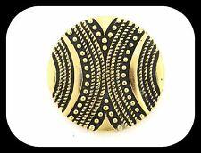 VINTAGE WESTERN GERMANY GOLD PLATED & BLACK ENAMEL BROOCH SCARF DRESS CLIP