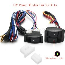 12V Universal Car SUV Power Window Glass Lift Switch Kits With Wiring Harness